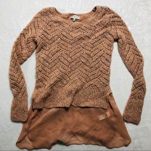 Lucky Brand- Blush Shimmer Tunic Sweater Size XS
